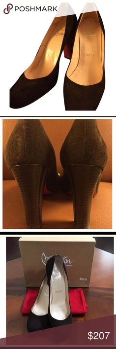 Buy me get one free.  CHRISTIAN LOUBOUTIN PUMPS You can own Christian Louboutin's at a reasonable price and in classic style! There are a Euro Size 38.5, so about a US Size 8.   Color: Brown Suede Size: 8 Width: Regular (M, B) Heel Style: Chunky Heel Height: High 3-4  Purchase this shoe and get another pair of shoes listed in my closet $50. 00 or less for free 🤗 Christian Louboutin Shoes Heels