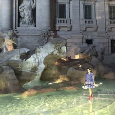 Bella walks for Fendi above the Fontana di Trevi