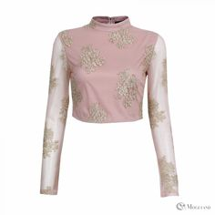 Ladies pink and gold lace high neck crop top wholesale - clothing/tops/crop tops | Moguland.com - Wholesale Women's Clothing