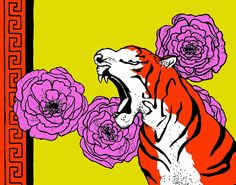 11x14 Wall Art Print Graphic Tiger and Roses Mod by BarnumsWinter