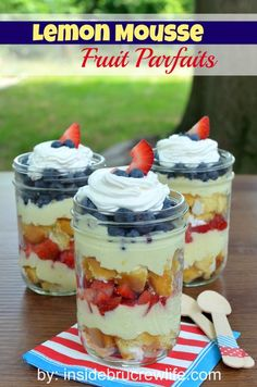 Lemon Mousse Fruit Parfaits | Inside BruCrew Life - lemon mousse layered with cream filled sponge cakes and fruit