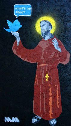 S. Francesco e twitter, 2012. #Sanfrancesco #twitter #streetart #mion #painting #stencil #graffiti #allucinazioni #allucinations