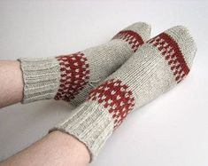 Hand knit patterned wool socks, Gifts for mom, Women warm winter slippers socks, Mother's day handmade gifts, Home made cozy woolen socks Fair Isle Knitting, Knitting Socks, Hand Knitting, Knitting Patterns, Woolen Socks, Fall Accessories, Cowl Scarf, Knitting For Beginners, Wool Yarn