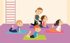 Buy Kids Yoga with Instructor by ssstocker on GraphicRiver. Kids yoga with Instructor. Sport lesson for children Vector illustration. School Sports, Kids Sports, Chico Yoga, Yoga Decor, Cartoon Icons, 7 Habits, Yoga For Kids, Yoga Sequences, Best Yoga