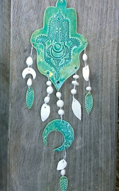 Aqua Ceramic Wall Hanging Hamsa with Moons Feathers by DivineHenna, $150.00