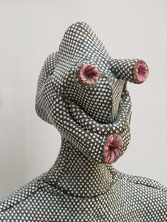 fabric sculpture by Michel Gouery Textiles, Arte Fashion, Exhibition, Weird Fashion, Soft Sculpture, Ceramic Sculptures, Weird And Wonderful, Textile Art, Wearable Art