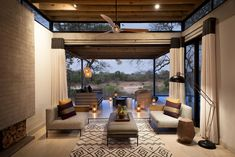 Lion Sands Ivory Lodge is an award-winning Lodge, situated in the Sabi Sand Reserve, overlooking the Sabie River which flows all year round. Sand Game, Best Honeymoon Destinations, Game Reserve, African Safari, Lodges, Pergola, Interior Design, Luxury, House