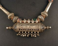 Rajasthan old silver embossed pendant indian by ethnicadornment