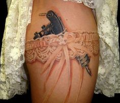 leg, lace, thigh tattoos, color, tattoo artists, a tattoo, gun, white ink, garter belts