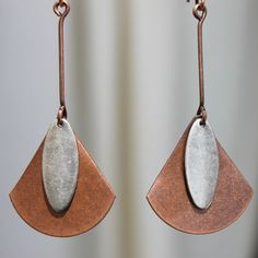 Mixed Metal Earrings Copper Silver Earrings Jewelry Ethnic Earrings Finish : Antiqued hand shape Copper piece and silver ( finished ) Size : 2,5