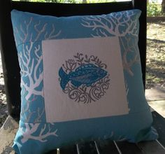 FISH PILLOW hand crafted EMBROIDERED by by KatesCreativeCabin