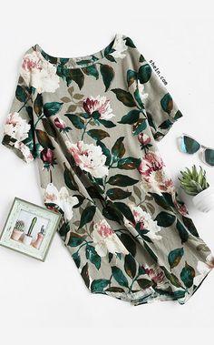 Florals Curved Hem Dress With Pockets