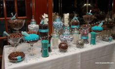Aqua Blue and Chocolate Brown Candy Buffet