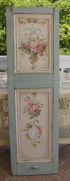 Christie's French Shutter - vintage / cottage / shabby chic decor. love the color combination and design by katharine