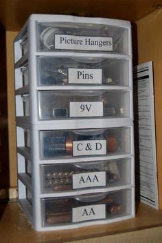 DIY Battery Organization [Tutorial] : 3-drawer trays stacked on top of each other stores batteries by size... very smart!