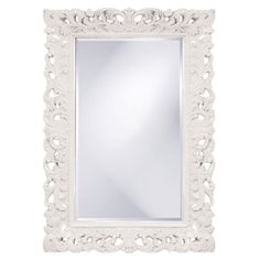 Barcelona White Rectangle Mirror Howard Elliott Collection Rectangle Mirrors Home Decor