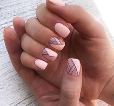 pink nail polish with geometric design. Feather Nails – … – Pink Nail Art – # Feather Nails pink nail polish with geometric design. Nail Design Stiletto, Nail Design Glitter, Nails Design, Short Nail Designs, Nail Art Designs, Cute Nails, Pretty Nails, Smart Nails, Line Nail Art