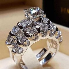 Dudee Luxury Double Ring Sets Ringfor Woman Classic womens engagement rings