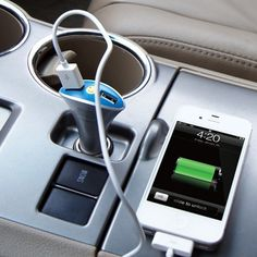 Dual USB Port Car Charger - http://www.prettydarncool.co.za/cool-tech/dual-usb-port-car-charger - Everyone needs juice for their phones, ipods and ipads. Learning to share isn't always easy on a road trip where power is a vital commodity. Now you dont have too