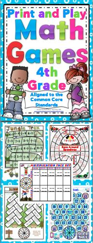 Math Games and Centers: 4th Grade Print and Play (No Prep) Your students will have a blast while working on Common Core math skills with this set of 50+ math games. All the games are 1 page with the spinner on the game board. All you need to do is print and play! $