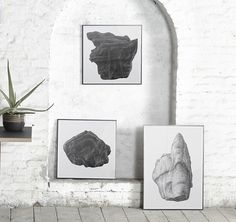 ROCK 50/50 B, A & 02 BY BØRGE BREDENBEKK. Reproduced from a large-scale pencil drawing. https://paper-collective.com/product/rock-5050-b/ https://paper-collective.com/product/rock-5050-a/ https://paper-collective.com/product/rock-02/