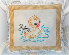 Embroidered Baby Pillow with Duck