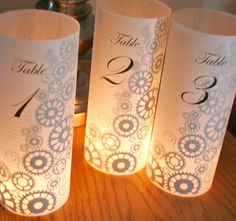 Steampunk Table number Luminaries for centerpieces, table numbers at wedding, events, balls