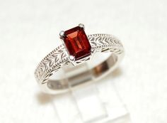 Charming Emerald Cut Red Garnet Ring Size 7 by WindstoneDesigns, $36.95