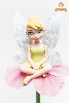 Tinkerbell figure #fondant #gumpaste #handsculpted #cake #topper #girl @thesweeteryph by Diana