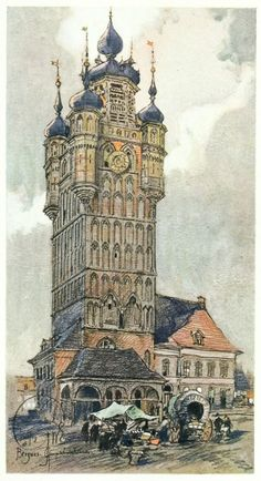 The belfry: Bergues. by George Wharton Edwards. From Vanished towers and chimes of Flanders, Philadelphia, 1916. Via archive.org.