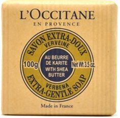 L'Occitane en Provence Shea Butter Verbena Extra Gentle Soap. I bought 2 of theses soaps because of the vintage packaging to decorate my bathroom. I have not used the soap yet. Syl