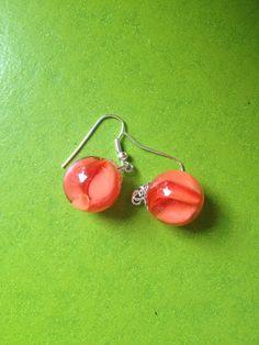 Vintage marble earrings peach pastel classic 80s cats-eye glass dangle drop cats eye retro 70s - 80s pastel orange swirl on Etsy, £5.00