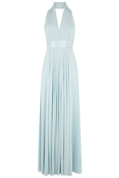 This elegant jersey maxi has a glamorous plunging halter neck for a sensuous appeal. The Goddess Maxi Dress features decadent pleating on the bodice, which falls gracefully to a striking floor-sweeping silhouette. The high quailty, lined, jersey material flatters the curves gorgeously and is tailored in at the waist to create the perfect hourglass form. Wear with minimalist, high shine jewellery for an all out wow effect.