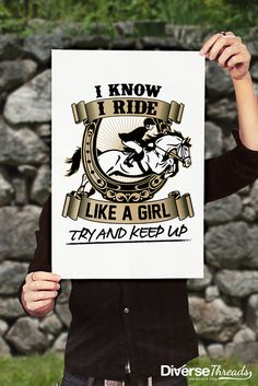 The perfect poster for anyone who loves to ride horses! Available here - https://diversethreads.com/products/horse-riding-girl-try-keep-up-poster