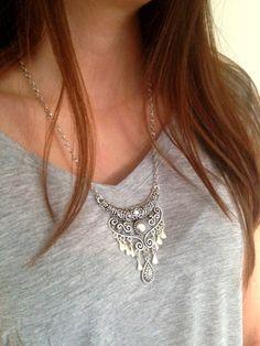 Ethnic Necklace, Bohemian necklace, Tribal necklace, Boho Necklace, Long silver necklace, Belly Dance Necklace, UK Seller by MysticJewelsTrinkets on Etsy https://www.etsy.com/listing/245130888/ethnic-necklace-bohemian-necklace-tribal
