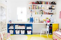 Great, versatile use of space: changing area, clothes, book and toy storage and even a desk area.
