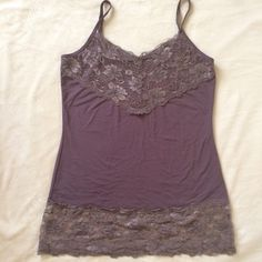 Taupe lacy stretch tank. Cute lacy stretch tank with adjustable straps.  Worn twice, in excellent condition. Studio Y Tops Camisoles