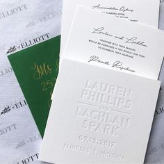 Lauren Phillips and Lachlan Spark Wedding invitation blind letterpress deboss white on white emboss - by State of Elliott