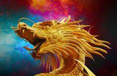 Dragon, Broncefigur, Dragón De Oro, Tailandia