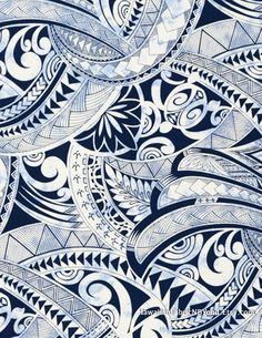 Tapa fabric: Polynesian tribal tattoo symbols. Turtle, ocean, shark teeth and leaf. Cotton poplin. Check it out at HawaiianFabricNBYond.Etsy.com