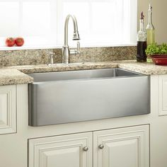 "30"" Hazelton Stainless Steel Farmhouse Sink, $650...must verify base cabinet dimension before selecting a new sink."