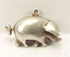 Jewel Tie 925 Sterling Silver Antiqued-Style Pig Pendant Charm 11mm x 16mm