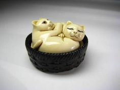RARE Antique Japanese Netsuke Okimono Feng Shui Lucky Money Cat Mammoth Tusk Ivo | eBay
