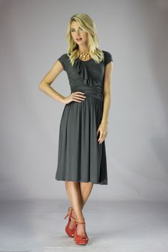 First pinner wrote: Modest Dresses in Grey  I would wear this to the kingdom hall.....Agreed for sure and it looks comfy.
