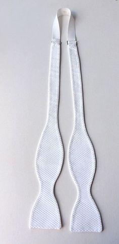 Vintage Self Tie Bow Tie White Waffle Cotton Adjustable Neck Formal  FREE P&P #BowTie #Formal