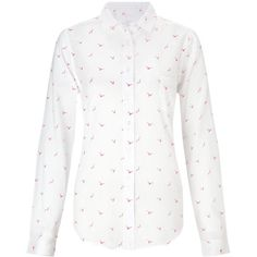 Collection WEEKEND by John Lewis Seagull Print Shirt , White/Pink ($61) ❤ liked on Polyvore featuring tops, long sleeve tops, white tops, long tops, white long sleeve top and white shirt