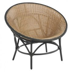 KOBA Rattan chair with black legs