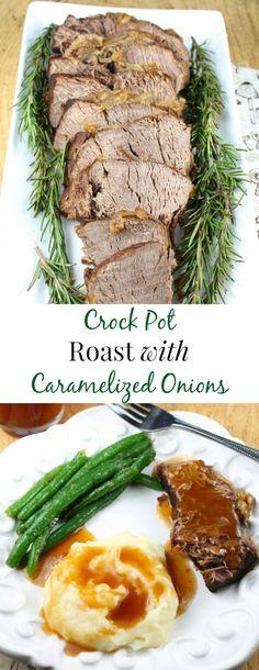 Crock Pot Roast with Caramelized Onions Recipe found at MissintheKitchen.com