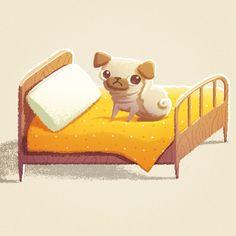 #pug #illustration #childrenbook #alenatkach #cute #yellow #bed #ps #digital