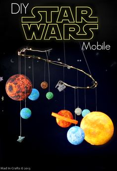Brilliant! How to DIY a Star Wars Mobile from @Mad in Crafts. Fun for geeks of all ages!